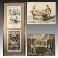 Antique Hand Painted Intaglio Print, in Frame, Glassmakers, Diderot & d'Alembert's , c.1700s