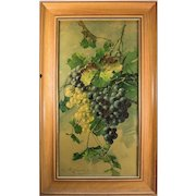"""Superb Antique French Watercolor, Still Life, Grapes and Grape Leaves, in Frame, 28.5"""" x 17.25"""""""