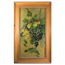 "Superb Antique French Watercolor, Still Life, Grapes and Grape Leaves, in Frame, 28.5"" x 17.25"""