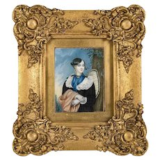 Superb 19th c. Antique Portrait Miniature, A Beauty in Frame, Gouache on Card #1