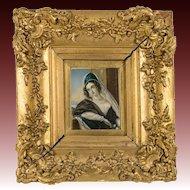 Superb 19th c. Antique Portrait Miniature, A Beauty in Frame, Gouache on Card #2
