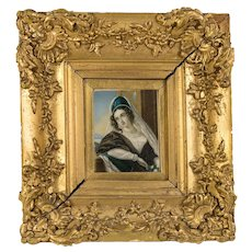 Superb 19th c. Antique Portrait Miniature, A Beauty in Frame, Gouache on Card #2