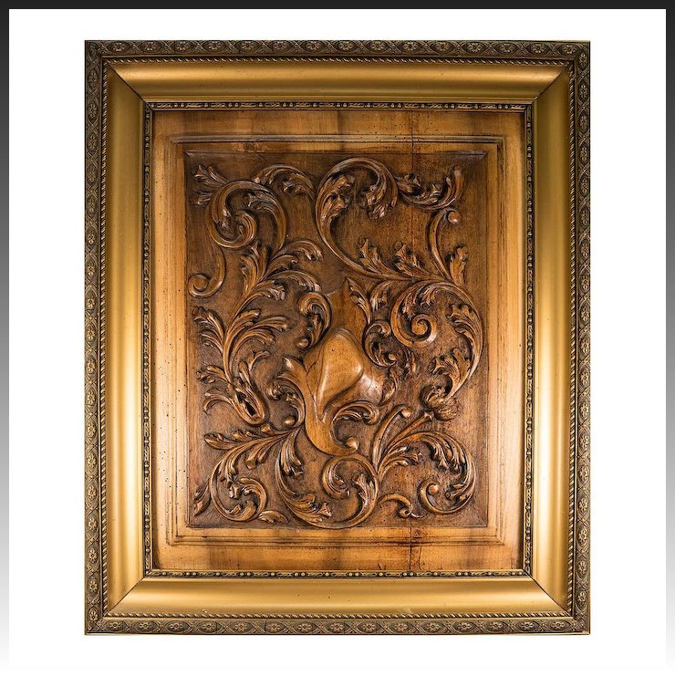 antique french carved wood panel in frame acanthus and shield