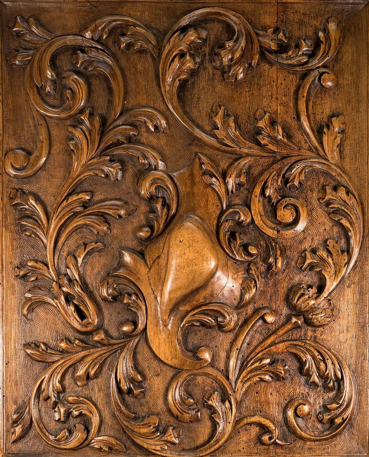 Antique French Carved Wood Panel In Frame Acanthus And