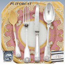 "Antique French PUIFORCAT Hallmarked Sterling Silver 4pc Christening Flatware Set, Original Box, ""Coquille"" Seashell Pattern"