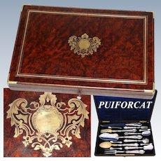 Superb Antique French PUIFORCAT Sterling Silver 14pc Serving Utensil Set, Opulent Burled Amboyna & Brass Box
