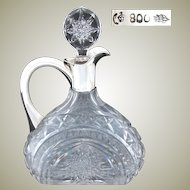 "Elegant Antique Continental .800 (Nearly Sterling) Silver & Thick Cut Crystal 9.5"" Claret Jug"