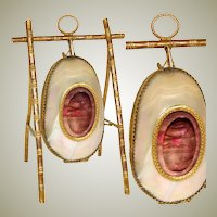Antique French Mother of Pearl Egg Shaped Pocket Watch or Pendant Display, Palais Royal
