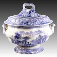 "HUGE Antique Victorian Era Mulberry Transferware Covered 13"" Soup Tureen, Neoclassical Transfer Ware"