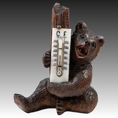 "Antique Hand Carved Black Forest Bear, A Seated 5.25"" Tall Bear, Both C and F Thermometer"
