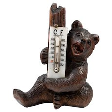 """Antique Hand Carved Black Forest Bear, A Seated 5.25"""" Tall Bear, Both C and F Thermometer"""