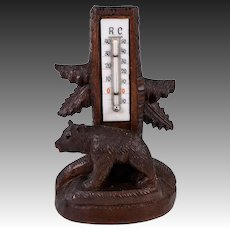 "Antique Hand Carved Wood Black Forest Thermometer Stand, 7"" Tall, a Bear Cub, 19th c."
