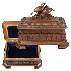 Stunning Antique 19th C. Hand Carved Black Forest Masterpiece Box, Casket, Fan-tail Pheasants, Hunt Theme