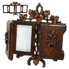 Antique Black Forest Carved Quadruple Picture Frame, Carte d'Visite Size, Edelweiss & Foliage