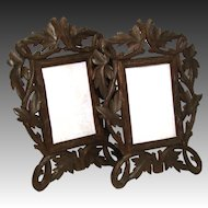 "Vintage Black Forest Carved 12"" Picture Frame PAIR, Ornate Reticulated Vines & Foliage"