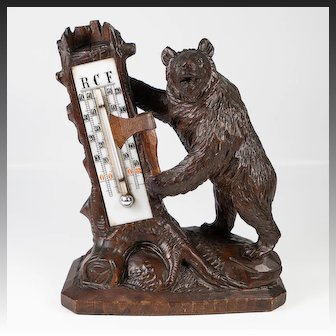 """Antique Hand Carved Black Forest Thermometer Stand, Standing Bear with Ax, 6.5"""" Tall"""