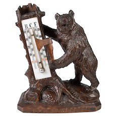 "Antique Hand Carved Black Forest Thermometer Stand, Standing Bear with Ax, 6.5"" Tall"