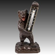 """Antique Hand Carved Wood Black Forest Thermometer Stand, 6"""" Tall, a Bear, 19th c."""