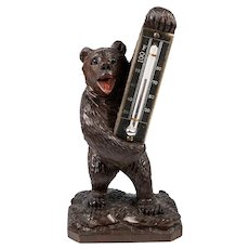"Antique Hand Carved Wood Black Forest Thermometer Stand, 6"" Tall, a Bear, 19th c."