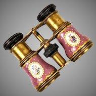 Superb Antique Kiln-fired Enamel Opera Glasses, Pink & Gold and Floral - Bress or Sevres