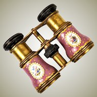 Superb Antique Kiln-fired Enamel Opera Glasses, Pink & Gold and Floral - Bress or Sevres