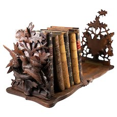 "Superb Antique HC Black Forest Expanding Book Rack, 3-D Birds, Nests, Eggs, 32"" Long"