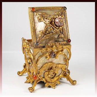 V RARE Antique French Jewel-mounted Ormolu & MOP Jewelry Box, Casket, Bonbon, Dogs, Hounds
