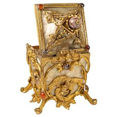 V RARE Antique French Jewel-mounted Ormolu & MOP Jewelry Box, Casket, Bonbon, Dogs, Hounds