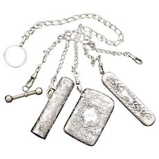 Antique Victorian era French Hallmarked .800 Solid Silver Chatelaine, Watch Fob, Folding Comb, Scent Flask, Match Vesta