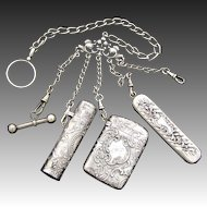 Antique Victorian era Silver Plate Chatelaine, Watch Fob, Knife Like Comb, Scent Flask, Match Vesta