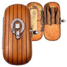 Antique Hand Carved Wood Cigar, Cheroot Case, or Match Vesta. Sterling Silver Belt