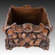 """Antique Black Forest Hand Carved Wood Jardiniere, 10.5"""" Square, 19th c. Centerpiece"""