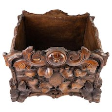 "Antique Black Forest Hand Carved Wood Jardiniere, 10.5"" Square, 19th c. Centerpiece"