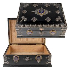 """RARE 13.5"""" Antique French Table or Jewelry Box, Gem-Set w Kiln-fired Enamel Plaques"""