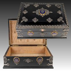 "RARE 13.5"" Antique French Table or Jewelry Box, Gem-Set w Kiln-fired Enamel Plaques"