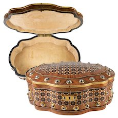 """Antique French Jewelry Box, Intricate Parquet & Studded Casket, Serpentine Table Chest, 13"""""""