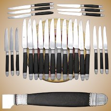 Elegant Antique French Napoleon III Era 24pc Dinner Knife Set, Sterling Silver & Ebony Handles, Empire Style