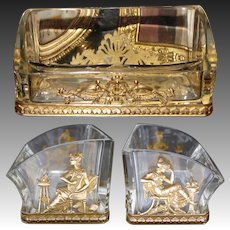 Antique French Empire Style Gilt Bronze & Baccarat Glass Business Card Holder, Figural
