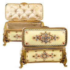 "Antique French Kiln-fired Enamel 5.5"" Jewelry Box, Casket, Pale Yellow, Bresse or Bressen Enamel"