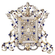 Stunning Antique Austrian Jeweled Easel Frame, Silver Plate and Gold, Neo-Classical Gem!
