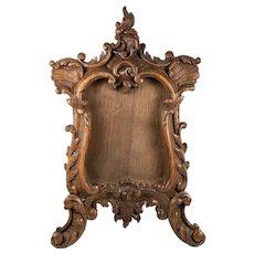 "Antique Black Forest or French Hand Carved Wood 14"" Tall Wall or Mirror Frame, Elegant Form"