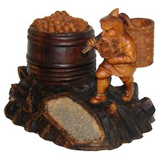 Charming Antique Black Forest Carved Smoker's Stand, Gnome Figure, Tobacco Barrel, Match Holder & Striker