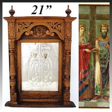 """Antique Russian Hand Carved 21"""" Cabinet Style Icon Frame, Silver Foil over Chromolith"""
