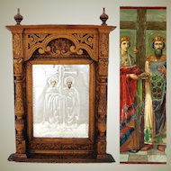 "Antique Russian Hand Carved 21"" Cabinet Style Icon Frame, Silver Foil over Chromolith"