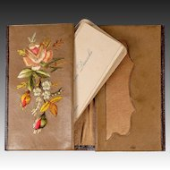 Antique Swiss or German Silk Embroidery and Leather Card Case, 19th c. Calling Cards