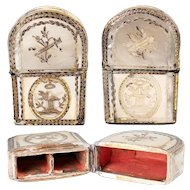 c.1770s Antique French Mother of Pearl Perfume Case, Etui, Box, Inlaid in 18k Gold Foil