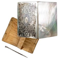Antique French Mother of Pearl and Sterling Silver Calling Card Case Necessaire, Canet du Bal, Pencil
