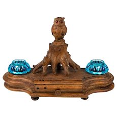 Antique Black Forest Hand Carved Wood Double Inkwell Stand, Stamps Box w Owl, Pen Holder