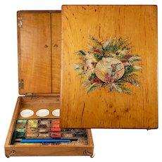 Antique French Watercolor Set, Wood Box, 4 Porcelain Mixing Pots, Paint Bricks