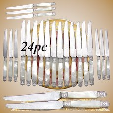 Gorgeous Antique French Sterling Silver & Solid Mother of Pearl Handled 24pc Dinner Knife Set
